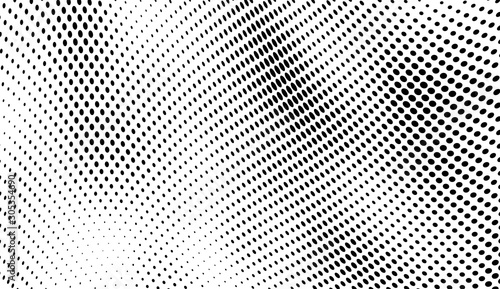 Abstract halftone background. Art texture of dots. Chaotic waves. Monochrome vintage backdrop. Black and white vector surface