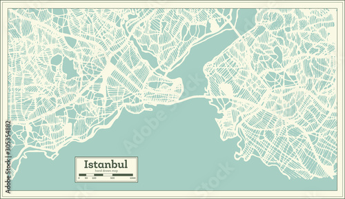 Istanbul Turkey City Map in Retro Style. Outline Map. Wallpaper Mural