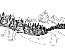 Mountain Skiing Graphic Black White Landscape Sketch Illustration Vector