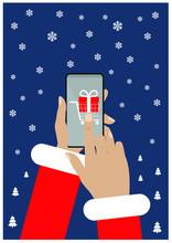 Santa Claus Sending Gift Using...