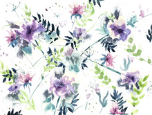 Chaotic Abstract Flowers On A ...
