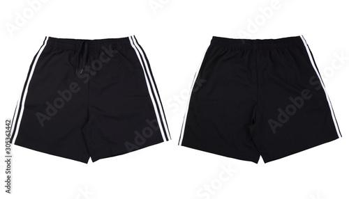 Obraz Front and back black running short pants on white background - fototapety do salonu