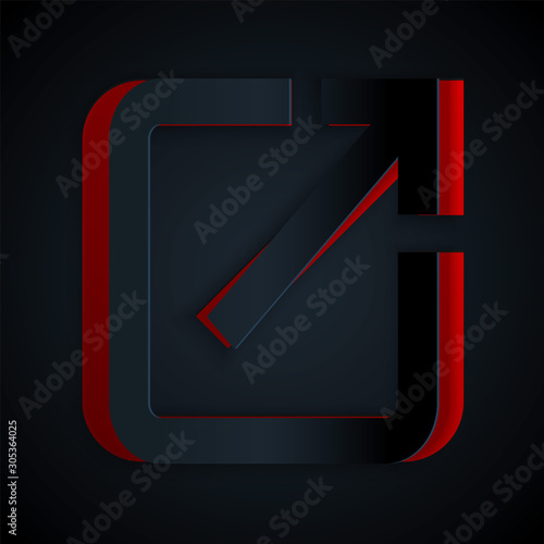 Paper cut Open in new window icon isolated on black background Canvas Print