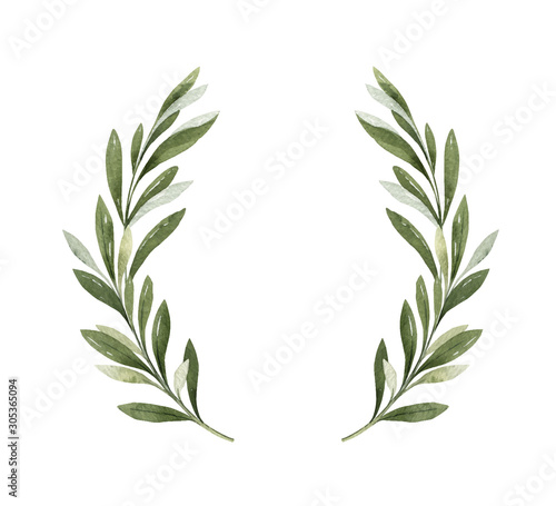 Fototapeta Watercolor vector wreath of olive branches and berries. obraz