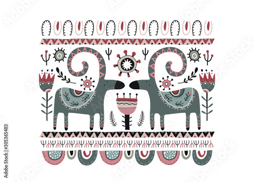 Photo Vector greeting card, poster in scandinavian style
