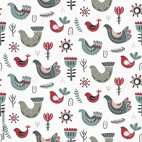 Vector Christmas seamless pattern in scandinavian style. Poster Mural XXL