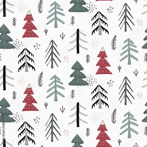 Vector Christmas seamless pattern in scandinavian style. Canvas Print