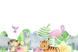 Akwarela zwierząt safari.