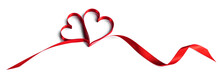 Red Heart Ribbon On White