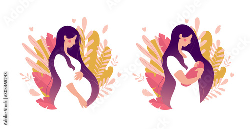 Set of illustrations about pregnancy and motherhood Fototapet