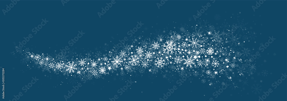 Fototapeta winter snow background with hand drawn snowflakes silhouette