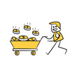 businessman carrying cart of dollar coins yellow stick figure