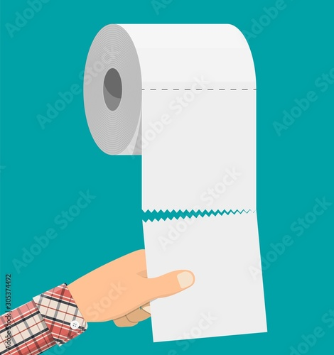 Fotomural White roll of toilet paper and hand