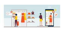 Women Using Innovative Technologies For Shopping