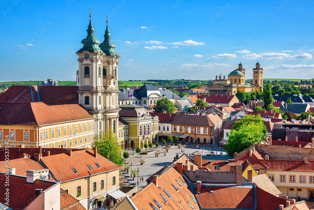 Panoramic view to the old town of Eger, Hungury