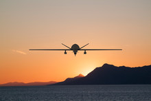 Silhouette Of Spy Drone Flying...