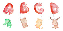 Watercolor Zoo Alphabet. Animals Alphabet. Letters From A To D. A For Alligator, B For Bear, C For Cat, D For Deer