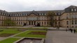 Stuttgart before Christmas 2019 in autumn end of November. Pan to the left along the side of the palace.