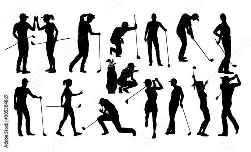 A set of golfer sports people playing golf in various poses Wallpaper Mural