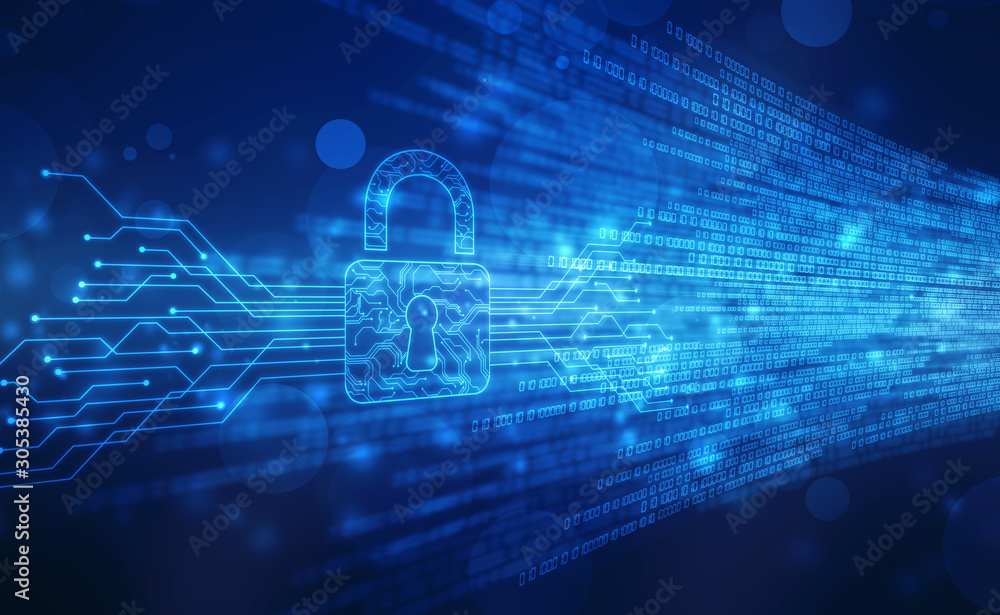 Fototapeta Security concept background , Closed Padlock on digital background, cyber security, Blue abstract hi speed internet technology background illustration