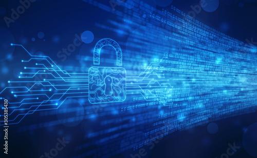 Cuadros en Lienzo  Security concept background , Closed Padlock on digital background, cyber securi