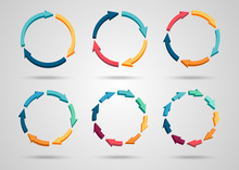 Colorful 3d Circle Arrows Set