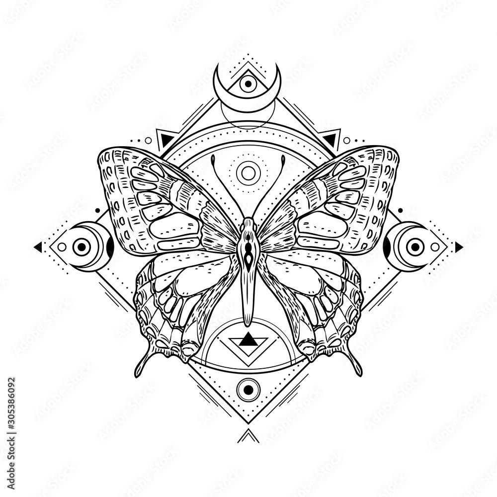 Fototapeta Mystic insect tattoo. Engraving mystical spiritual sketch design. Alchemy freemasonry occult vector symbol. Tattoo sketch freemasonry, animal sketchy illustration