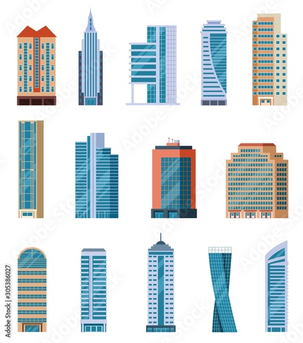 Flat skyscrapers. Modern city tall buildings. Residential and office houses exterior. Apartment blocks isolated cartoon vector set. Illustration skyscraper construction, tall building architecture Fotobehang