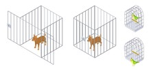 Animals In Cages. Isometric Dog Bird Inside And Outside Cage. Pet Care Vector Illustration. Cage For Pet, Animal Domestic Puppy Safety