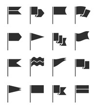 Flag Icons. Pennant With Flagp...