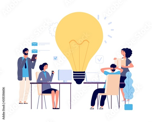 Obraz Teamwork concept. Creative idea, working process vector illustration. Flat business characters, brainstorm, implementation of new idea. Men women work. Brainstorming teamwork, idea illustration - fototapety do salonu