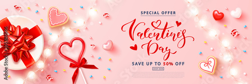 Valentine's day sale background with Red heart lollipop,cookies, streamers,gift box and garland. Modern design.Universal vector background for poster, banners, flyers, card,advertising brochure