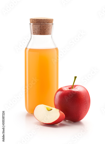 Obraz na plátne Bottle of apple cider vinegar with fresh red apples isolated on white background