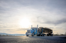 Big Rig Blue Semi Truck Transporting Cut Logs Driving On The Road With Sunset