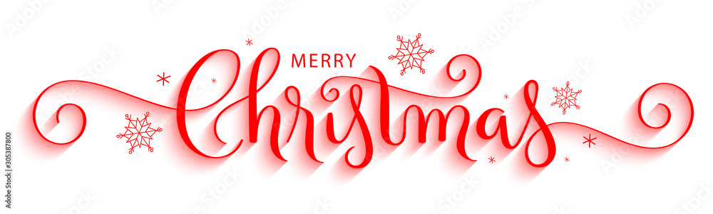Fototapeta MERRY CHRISTMAS red vector brush calligraphy with flourishes