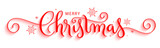 MERRY CHRISTMAS red vector brush calligraphy with flourishes