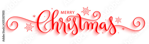 MERRY CHRISTMAS red vector brush calligraphy with flourishes - 305387800