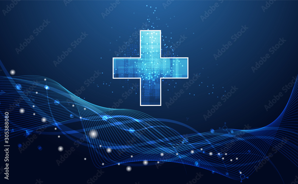 Fototapeta Abstract health science consist health plus digital technology concept  modern medical technology,Treatment,medicine on hi tech future blue background. for template, web design or presentation.