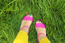 Pedicure In Pink Sandals With ...