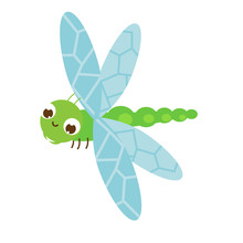 Cartoon Dragonfly. Cute Insect...