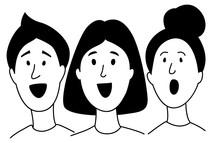 Music Lessons Students Children Choir Line Icon Clipart Doodles.
