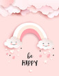Welcome baby greetings card, nursery poster with cute clouds and rainbow, vector paper art