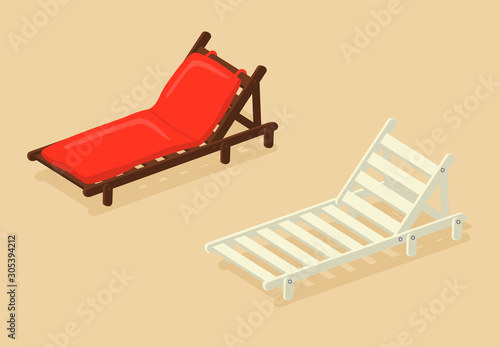 Obraz na plátně White deck chair and wooden sun lounger with red pillow