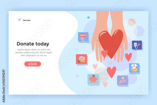 Donation concept illustration, perfect for web design, banner, mobile app, landi Wallpaper Mural