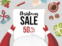 Christmas Sale Poster. Santa Claus Is Holding In His Hands Wish List. Greeting Card For Winter Holidays. Vector Cartoon Illustration.