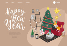 Landing Page Template Or Card With Christmas Home Decorations With Pets. Scandinavian Interior With Cat, Dog Dressed In Costumes. Illustration And New Year Typography In Hygge