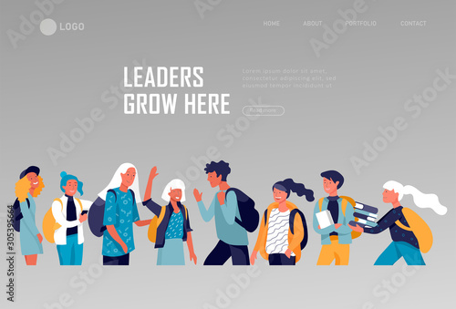 Landing page template with Back to school flat vector illustration Canvas Print