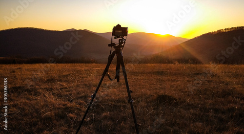 Foto auf Leinwand Schokobraun Sunset in the Carpathians