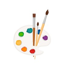 Palette Icon. Vector Paint Brushes, Palette With Color Paint Strokes Isolated On White Background