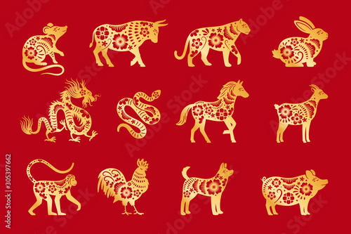 Slika na platnu Gold on red chinese horoscope